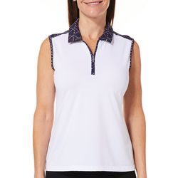 Coral Bay Golf Womens Sleeveless Golf Print Polo Shirt