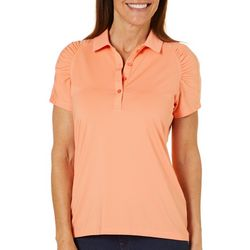 Coral Bay Golf Womens Striped Ruched Polo Shirt