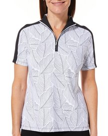 Coral Bay Golf Womens Leaf Print Polo Shirt