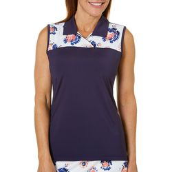 Coral Bay Golf Womens Sleeveless Striped Floral Polo Shirt