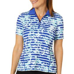 Coral Bay Golf Womens Striped Leaf Short Sleeve Polo Shirt