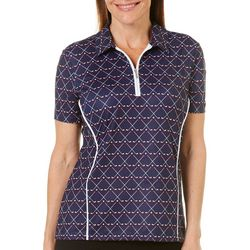 Coral Bay Golf Womens Golf Print Short Sleeve Polo Shirt