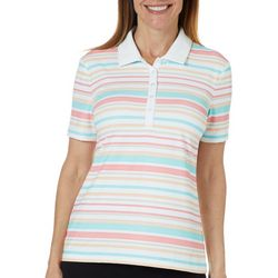 Coral Bay Golf Womens Striped Short Sleeve Polo Shirt