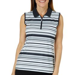 Coral Bay Golf Womens Sleeveless Striped Polo Shirt
