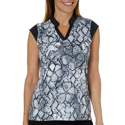 Coral Bay Golf Womens Snake Print Cap Sleeve Polo Shirt