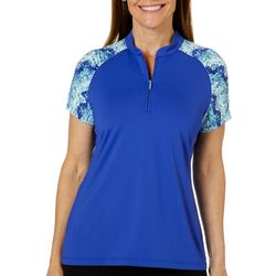 Coral Bay Golf Womens Colorblock Snake Print Polo Shirt