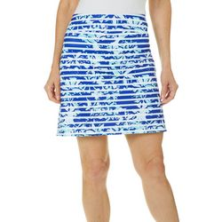 Coral Bay Golf Womens Floral Striped Pull On Skort