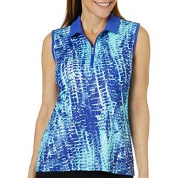 Coral Bay Golf Womens Sleeveless Puzzle Print Polo Shirt