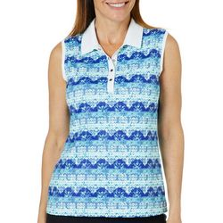 Coral Bay Golf Womens Sleeveless Mixed Stripe Polo Shirt