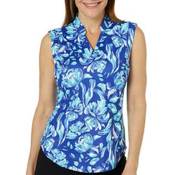 Coral Bay Golf Womens Sleeveless Sketched Floral Polo Shirt