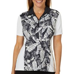 Coral Bay Golf Womens Palm Leaf Short Sleeve Polo Shirt