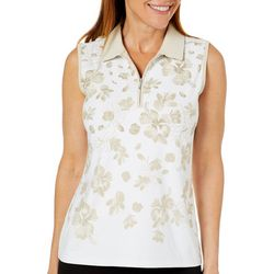 Coral Bay Golf Womens Sleeveless Tropical Floral Polo Shirt