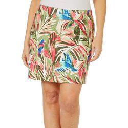 Coral Bay Golf Womens Tropical Bird Print Pull On Skort