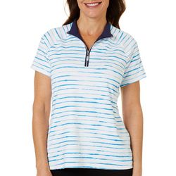 Coral Bay Golf Womens Watercolor Stripe Polo Shirt