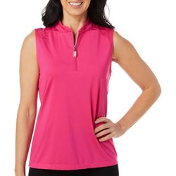 Coral Bay Golf Womens Solid Sleeveless Polo Shirt
