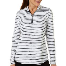 Coral Bay Golf Womens Watercolor Stripe Mesh  Polo Shirt