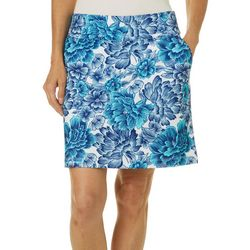 Coral Bay Golf Womens Falling Flowers  Print Pull On Skort