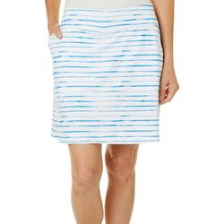 Coral Bay Golf Womens Watercolor Stripe Print Pull On Skort