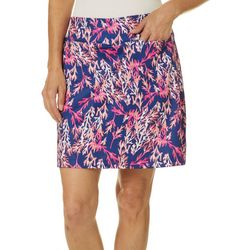 Coral Bay Golf Womens Coral Print Pull On Skort