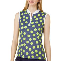 Lillie Green Womens In Your Court Sleeveless Polo Shirt