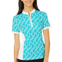 Lillie Green Womens Window Pane Print Zippered Polo Shirt