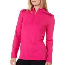 Lillie Green Womens Ruffle Detail 1/4 Zip Long Sleeve Shirt
