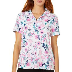 Lillie Green Womens Floral Back Mesh Short Sleeve Polo Shirt