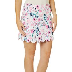Lillie Green Womens Floral Scalloped Pull On Skort