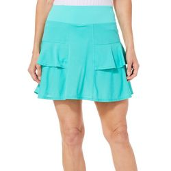 Lillie Green Womens Tiered Mesh Pull On Skort