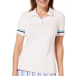 Lillie Green Womens Striped Sleeve Polo Shirt