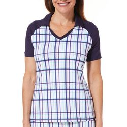 Lillie Green Womens Checkered Colorblock Polo Shirt