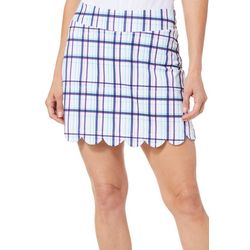 Lillie Green Womens Plaid Scalloped Pull On Skort