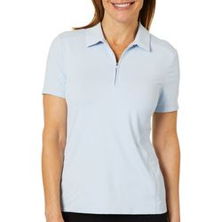 Lillie Green Womens Back Mesh Short Sleeve Polo