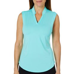 Coral Bay Golf Womens Textured Stripe Sleeveless Polo Shirt