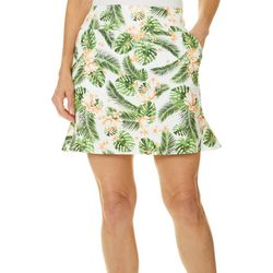Coral Bay Golf Womens Tropical Palm Pull On Skort