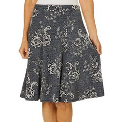 Sami & Jo Womens Pull On Floral Puff Print Skirt