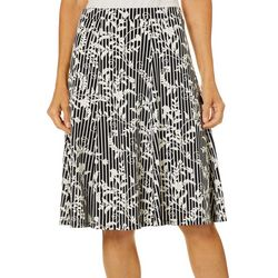 Sami & Jo Womens Pull On Floral Stripe Puff Print Skirt