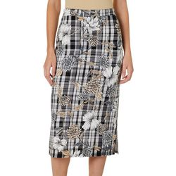 Sami & Jo Womens Floral Plaid Skirt
