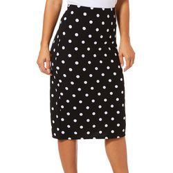 Tacera Womens Polka Dot Pull On Skirt