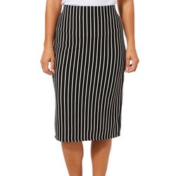Tacera Womens Pin Striped Pull On Skirt