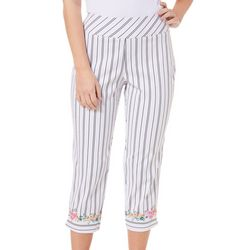 Counterparts Womens Striped Floral Border Career Capris