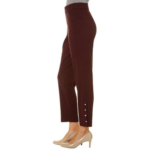 467109c83da Counterparts Womens Solid Button Hem Pull On Pants