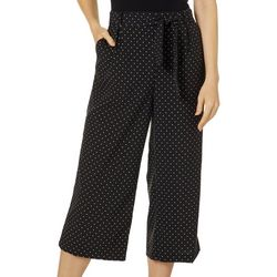 Counterparts Womens Belted Polka Dot Wide Leg Capris