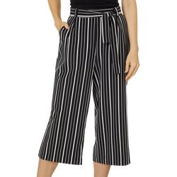 Counterparts Womens Belted Striped Wide Leg Capris