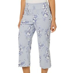 Counterparts Womens Floral Stripe Pull On Career Capris
