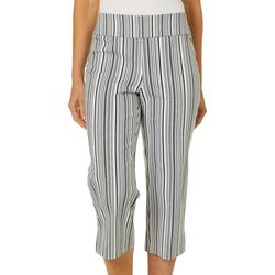 Counterparts Womens Vertical Stripe Pull On Career Capris