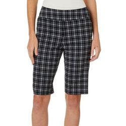 Counterparts Womens Plaid Pull On Skimmer Bermuda Shorts