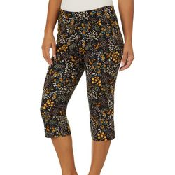 Counterparts Womens Floral Print Pull On Capris