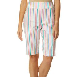 Counterparts Womens Striped Print Bermuda Shorts