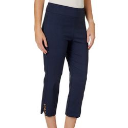 Counterparts Womens Solid Cross Detail Hem Capris